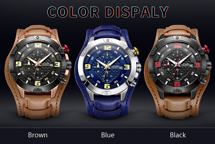 MEGIR 2099 Men Watch Quartz Sport Simple Wristwatch Leather Strap 3ATM Waterproof Calendar Chronograph Luminous Hands - Blue