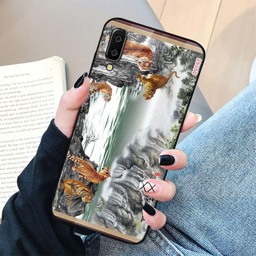 Ốp điện thoại kính cường lực cho máy Samsung Galaxy A7 2018/A750 - hổ MS CONHO007