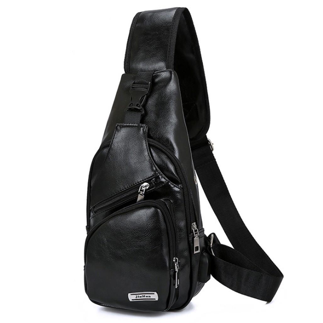 Túi đeo chéo nam da PU tiện dụng-đen 2