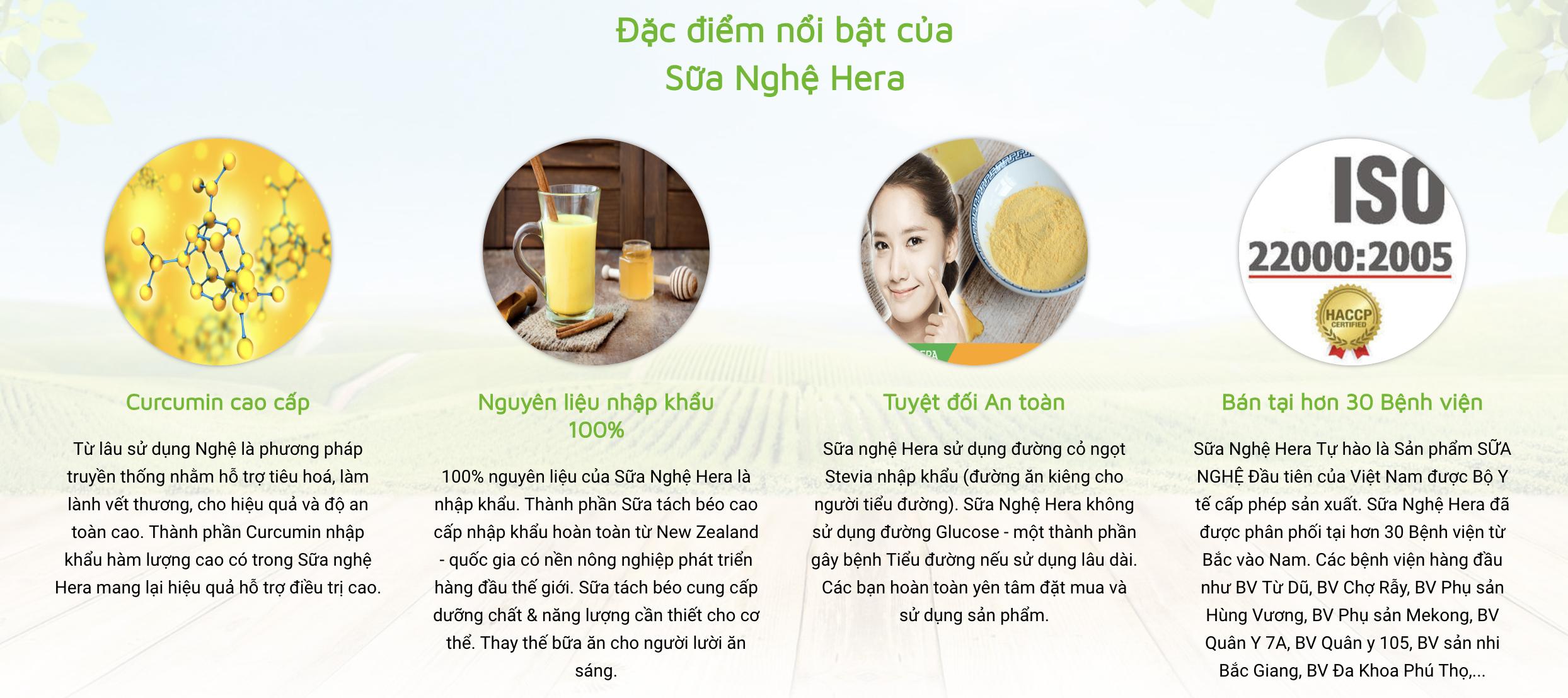 Sữa Nghệ Hera 1 Sản Phẩm Bảo Vệ Sức Khỏe 2