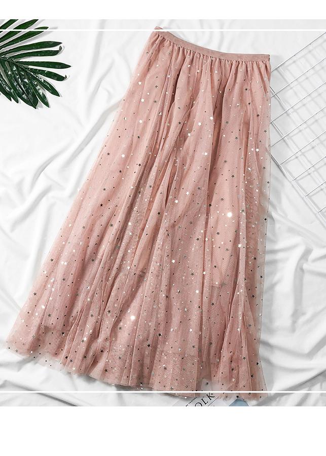 Chân váy ren Tulle - Tutu xòe tròn đính trăng sao lấp lánh giá siêu tốt VAY21 Free size 3