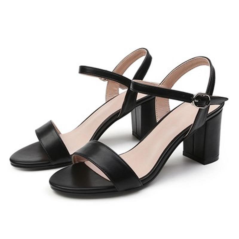Giày cao gót nữ gót vuông quai ngang 5cm màu đen