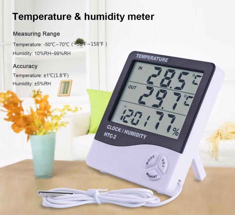 Đồng hồ để bàn màn hình Led dùng để đo nhiệt độ, độ ẩm HTC - 2 ( Tặng kèm 01 miếng thép đa năng để ví ) 3