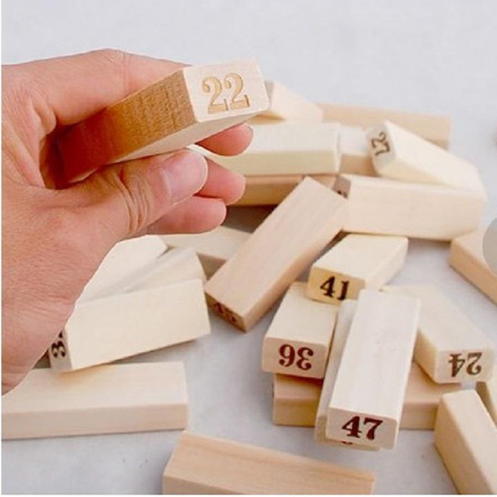 Đồ chơi thông minh cho bé, đồ chơi bằng gỗ tự nhiên, đồ chơi rút gỗ Wiss Toy 54 thanh cho bé trai và bé gái - Tặng Kèm Móc Khóa 3