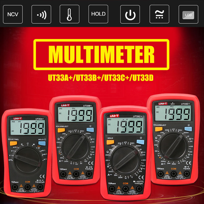 Multi Function Multimeter Digital Voltmeter Practical 2mF Red Black Test Kit