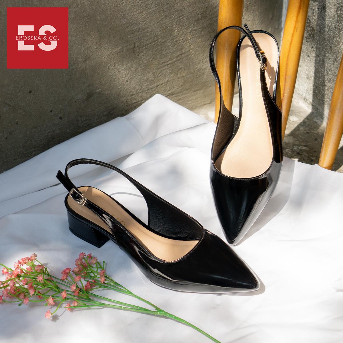 Giày cao gót slingback Erosska mũi nhọn da bóng kiểu dáng basic cao 4cm - EL012 4