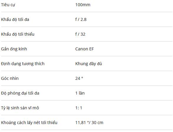 Lens Canon EF 100/2.8L Macro IS USM -Hàng Chính Hãng