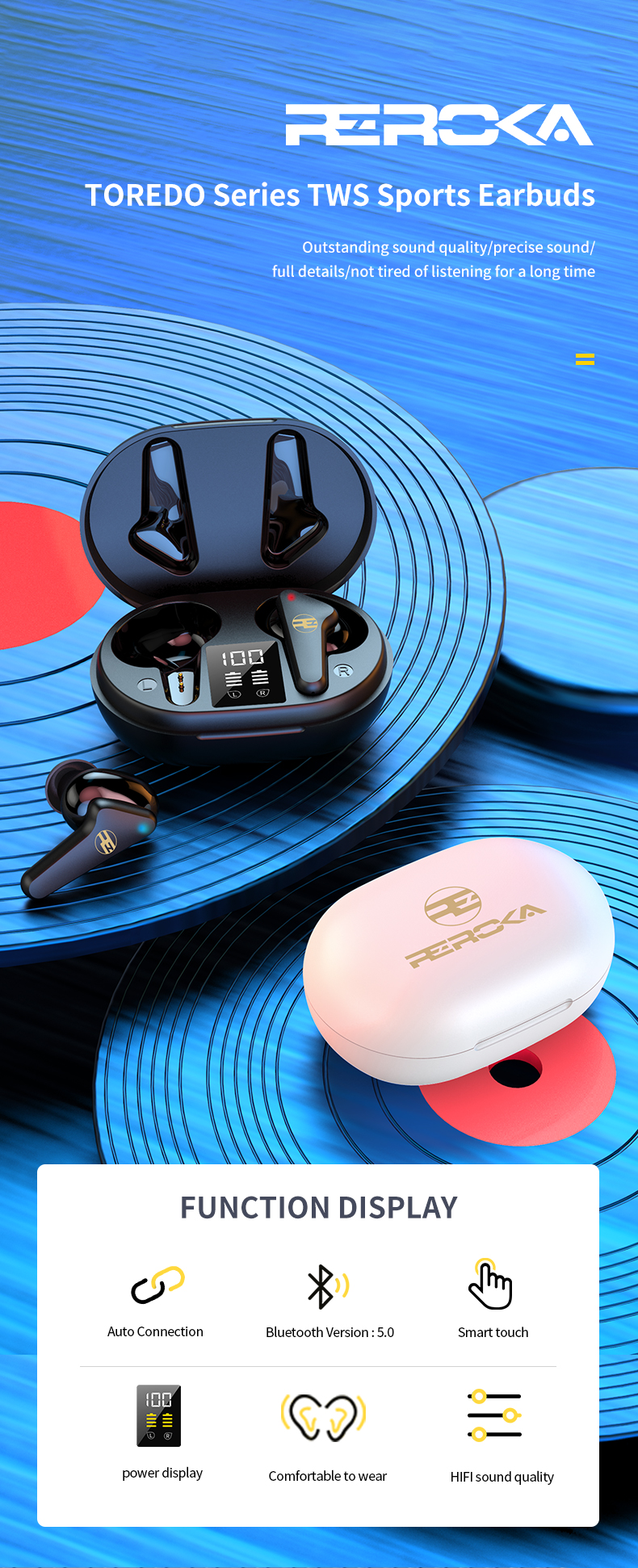 Tai Nghe Bluetooth V5.0 True Wireless Không Dây Reroka Torpedo 2021 Cảm Ứng Vân Tay Âm Thanh Hi-Fi  Bass Căng Trầm Pin Trâu Hiển Thị Mức Pin Đèn Led Chống Ồn Chống Nước Đổi Tên Thiết Bị Kiểu Giáng Thể Thao Đeo Chắc Tai 3 Màu Trắng Hồng Đen- Hàng Chính Hãng 1