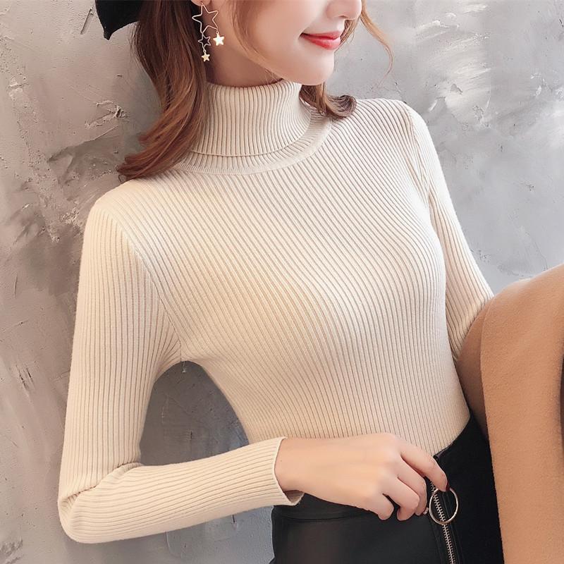Áo Len Basic Kín Cổ Nữ Chất Liệu Cao Cấp Phong Cách Thời Trang Hàn Quốc Trẻ Trung Sành Điệu-Kem 2