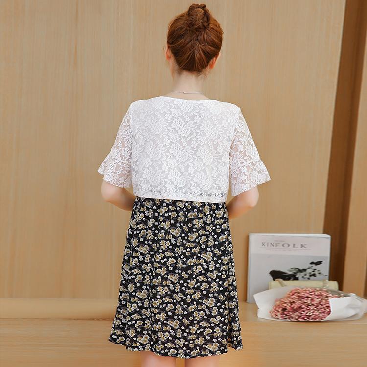 Váy Bầu Công Sở Hương Mùa Hè Voan Phối Ren