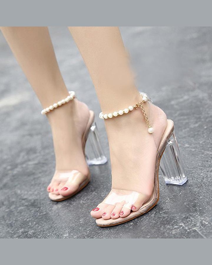 Giày Cao Gót Nữ Gót Vuông Trong Suốt 7cm 2