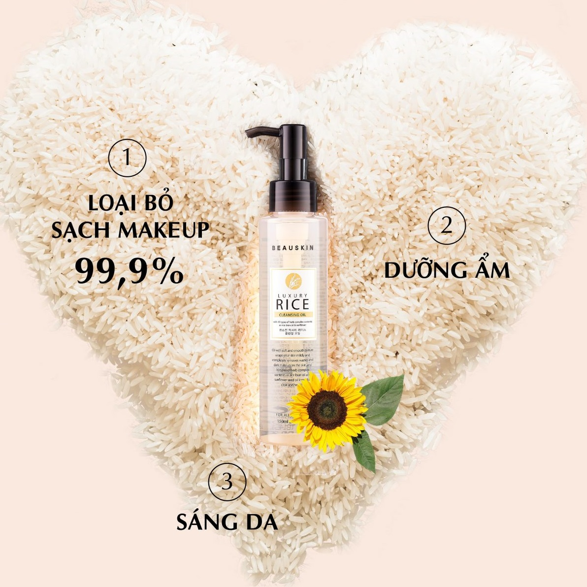 Nước tẩy trang mắt môi từ tinh chất gạo BEAUSKIN LUXURY RICE CLEANSING OIL Hàn quốc 150ml Chai Kèm 1 nơ xinh 4