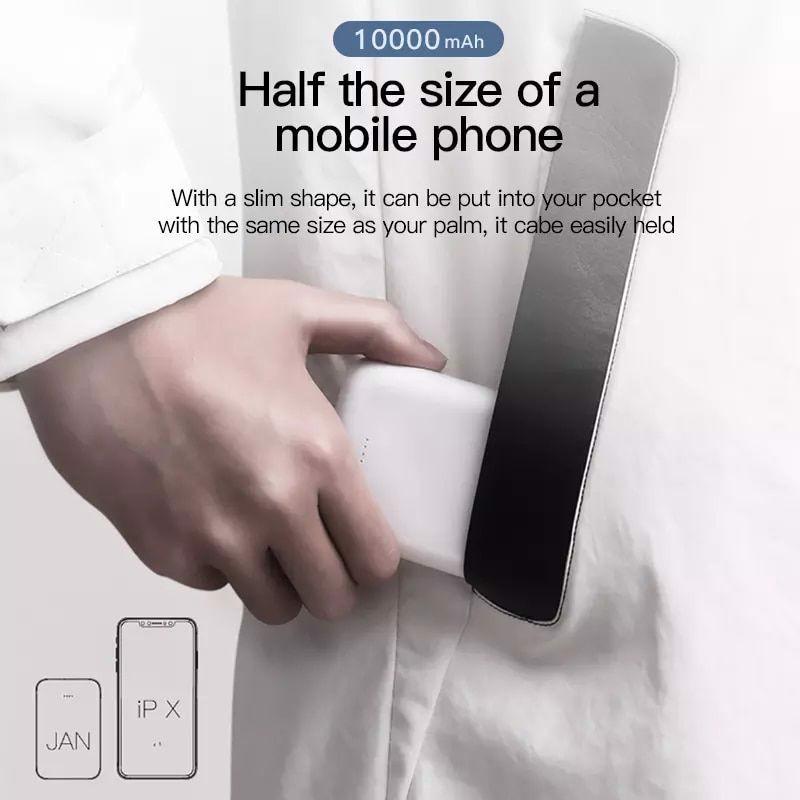 Pin dự phòng 02 cổng USB  - 10000mAh cho iPhone/ Smartphone/ Tablet -  Baseus Mini JA Power Bank X10 - Hàng Chính Hãng