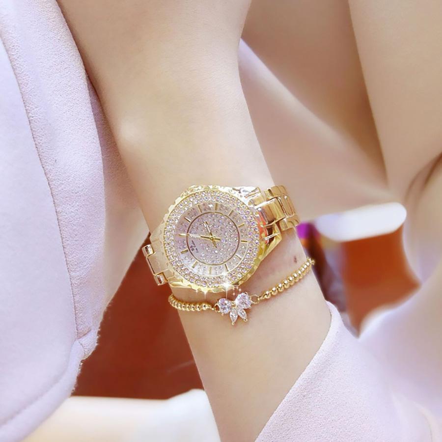 Đồng hồ nữ đính đá pha lê cao cấp (Vàng) 3