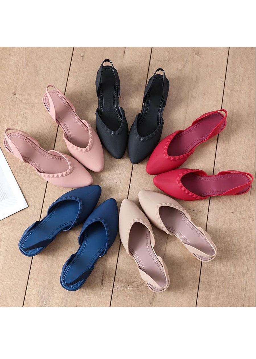 Giày nhựa đi mưa cao 3.5p, xăng đan phong cách Hàn Quốc màu đen, kem, hồng mẫu V192 8