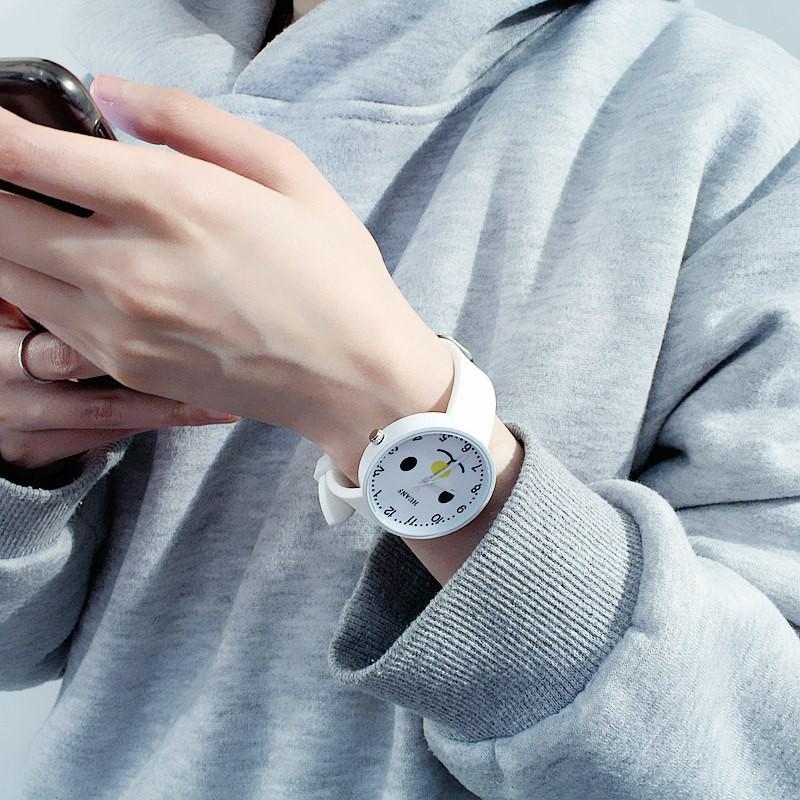 Đồng hồ thời trang nam nữ Huans Hmc1. hình mặt cười dây silicon. 1
