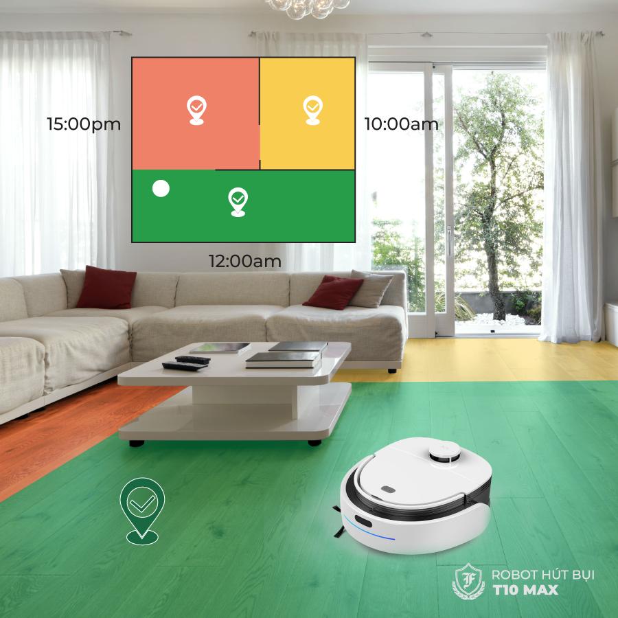 Với khả năng ưu việt cài đặt thời gian dọn dẹp của robot hút bụi lau nhà T10 Max, nhà cửa sẽ sạch sẽ theo đúng thời gian bạn mong muốn