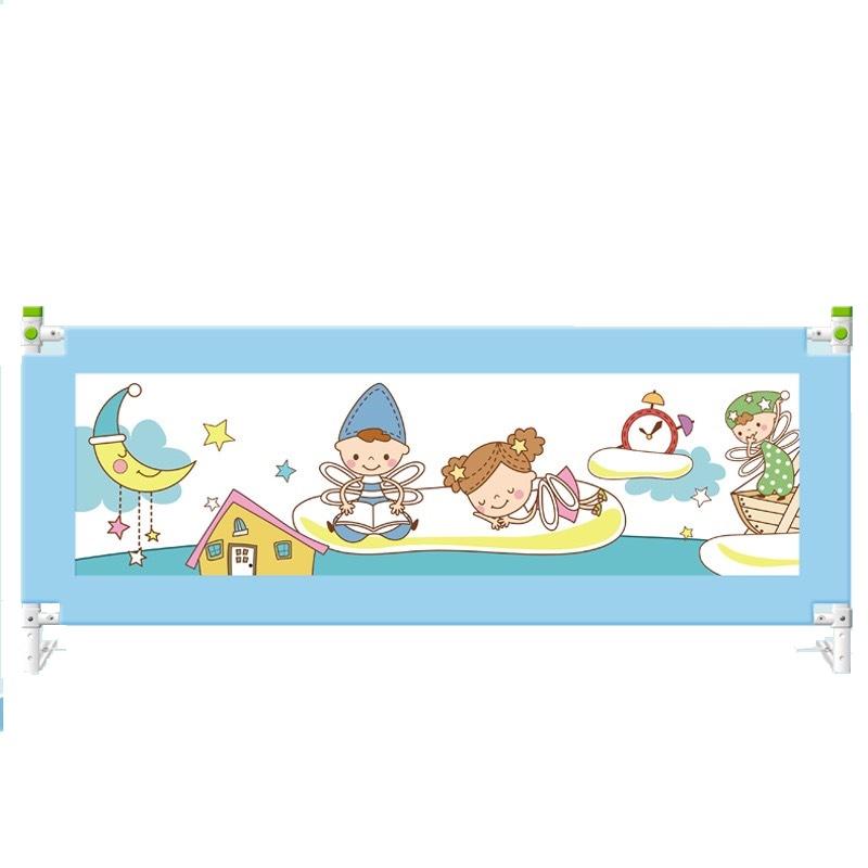 Bộ 02 thanh chặn giường dùng cho đệm dày lên đến 30cm, 1 thanh 1m8 và 1 thanh 2m Màu Xanh, tặng gói khăn sữa cao cấp 1