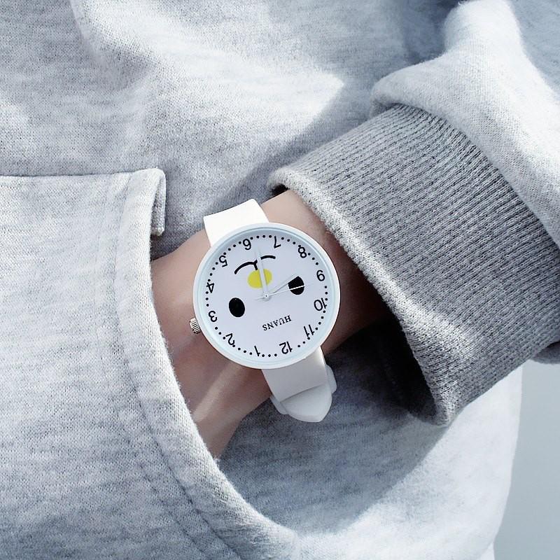 Đồng hồ thời trang nam nữ Huans Hmc1. hình mặt cười dây silicon. 2