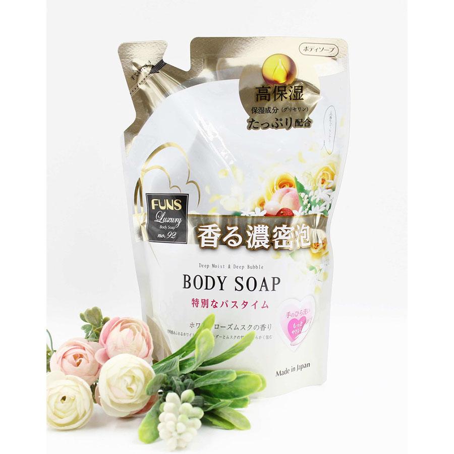 Sữa tắm sáng da Funs Luxury dạng túi tiết kiệm (380ml) - Nội địa Nhật Bản 2