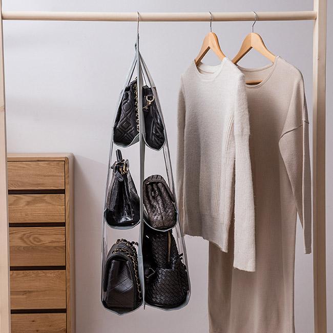 Túi treo 6 ngăn trong suốt để túi xách, khăn, phụ kiện chống bụi bẩn cao  cấp (Loại dày) - Tủ, thùng, hộp, khay đựng đồ Thương hiệu Quà Trực Tuyến |  SieuThiChoLon.com