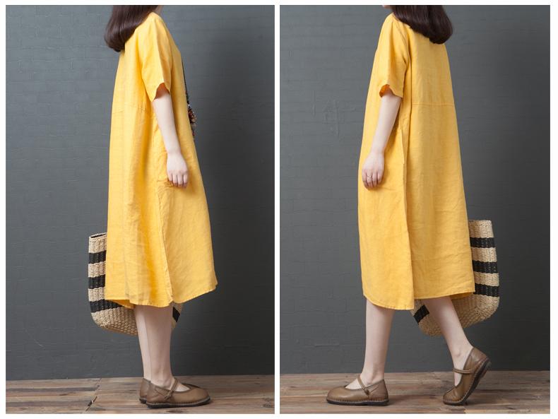 Đầm suông form rộng 2 túi sườn LAHstore, thích hợp mùa hè, thời trang trẻ, phong cách Hàn Quốc (Vàng) 6