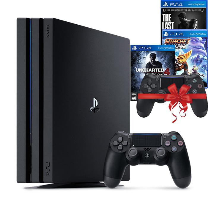 Bộ máy PS4 Pro 2TB kèm 2 tay bấm + 3 đĩa game Uncharted 4, Ratchet & Clank, The Last Of Us -Playstation chính hãng