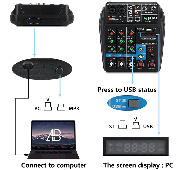 A4 Sound Mixing Console with Bluetooth Record 4 Channels Audio Mixer for Stage Performance Family K Songs