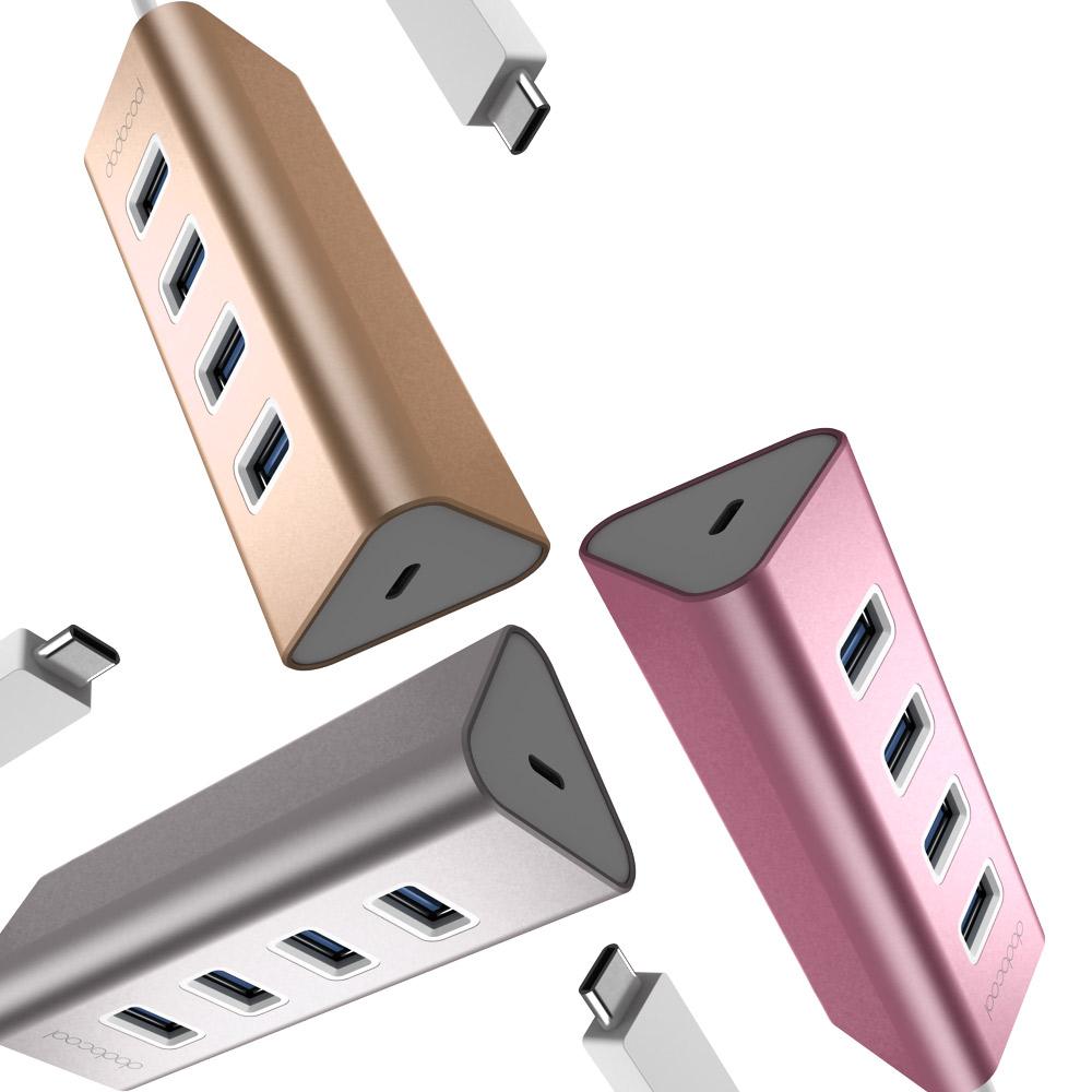Hub Chuyển USB Type-C Sang 4 Cổng USB 3.0 Dodocool Tích Hợp Cổng Sạc PD USB-C Cho New MacBook