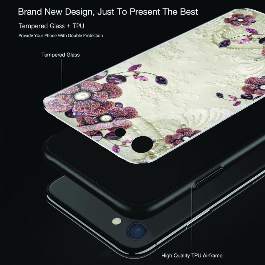 Ốp điện thoại kính cường lực cho máy iPhone 6 / 6S - ngọc hoa MS NGHOA009