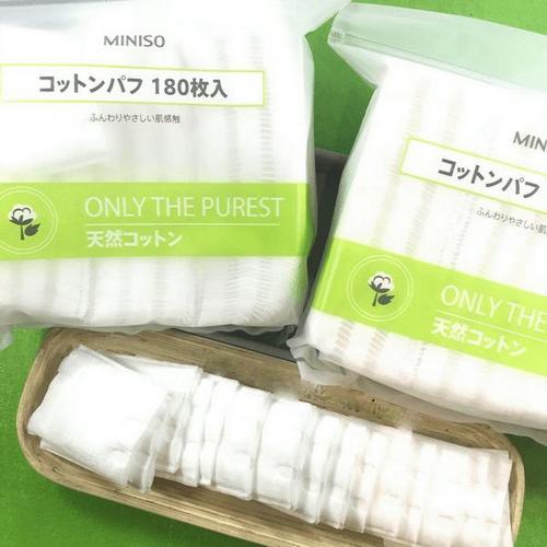 Một túi bông tẩy trang 180 miếng 3 lớp Miniso only the purest 2