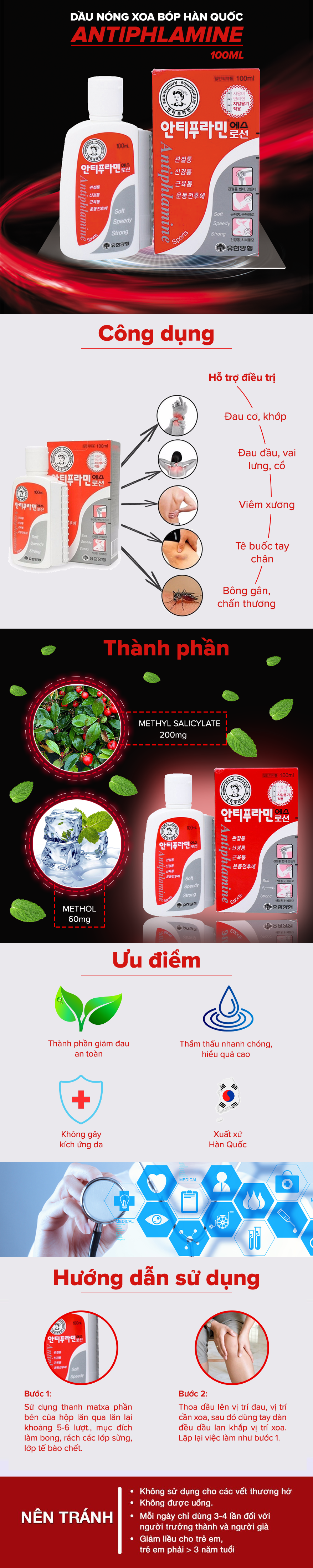 Bộ 3 Chai Dầu nóng Hàn Quốc Antiphlamine ( Chai100ml )  = 185.000đ