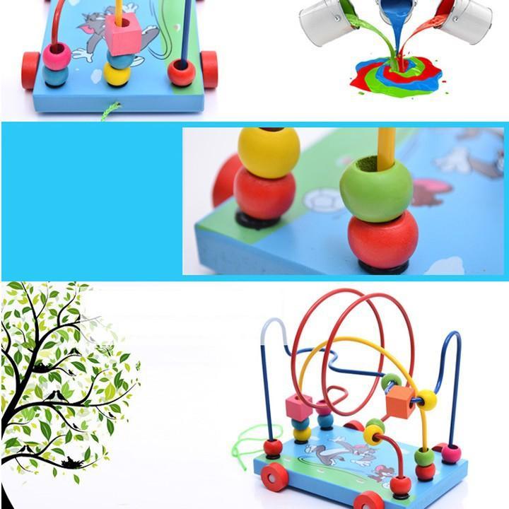Đồ chơi xe gỗ, game xâu chuỗi luồn hạt gỗ, đồ chơi gỗ xâu chuỗi hạt rèn kỹ năng khéo léo cho bé giúp trẻ kích thích giác quan một cách toàn diện Tặng Kèm Móc Khóa 4Tech. 2