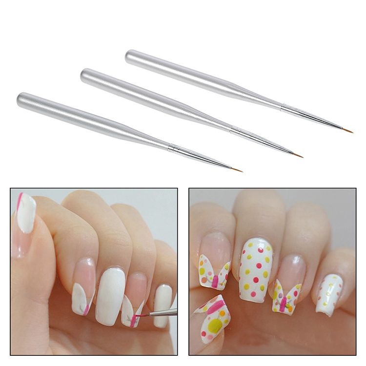 3pcs/set Professional Acrylic Nail Art Brush Set Nal Art Painting Brushes Nail Drawing Line