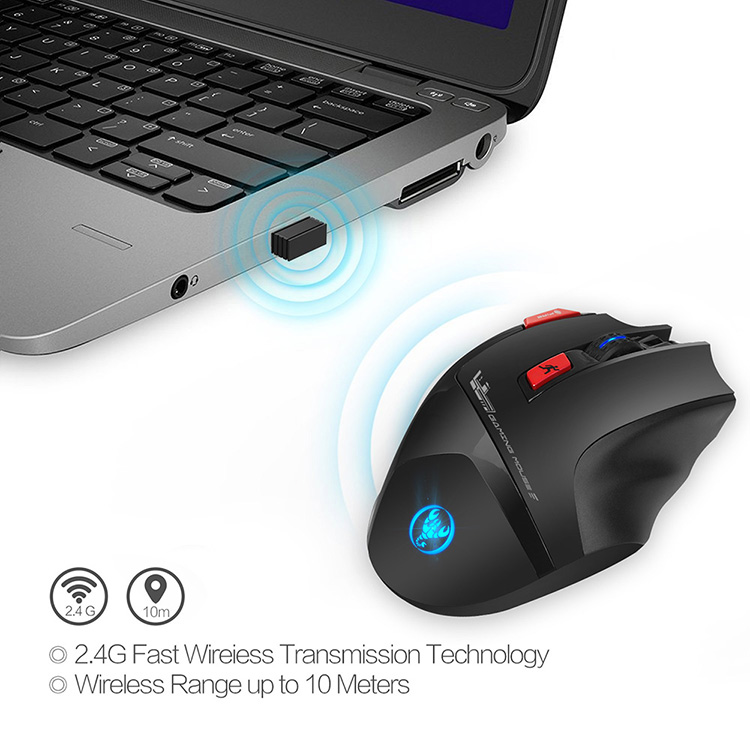 HXSJ T88 Wireless Gaming Mouse Rechargeable 7 Key Ergonomic Design Macro Programming Adjustable 4800DPI Optical Computer - Black
