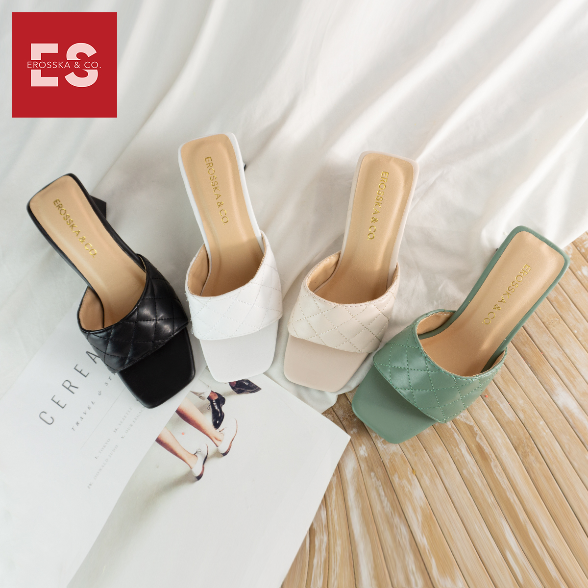 Dép cao go t Erosska thời trang mũi vuông quai ngang phối gót sơn gỗ kiê u da ng thanh li ch cao 5cm EM045 1