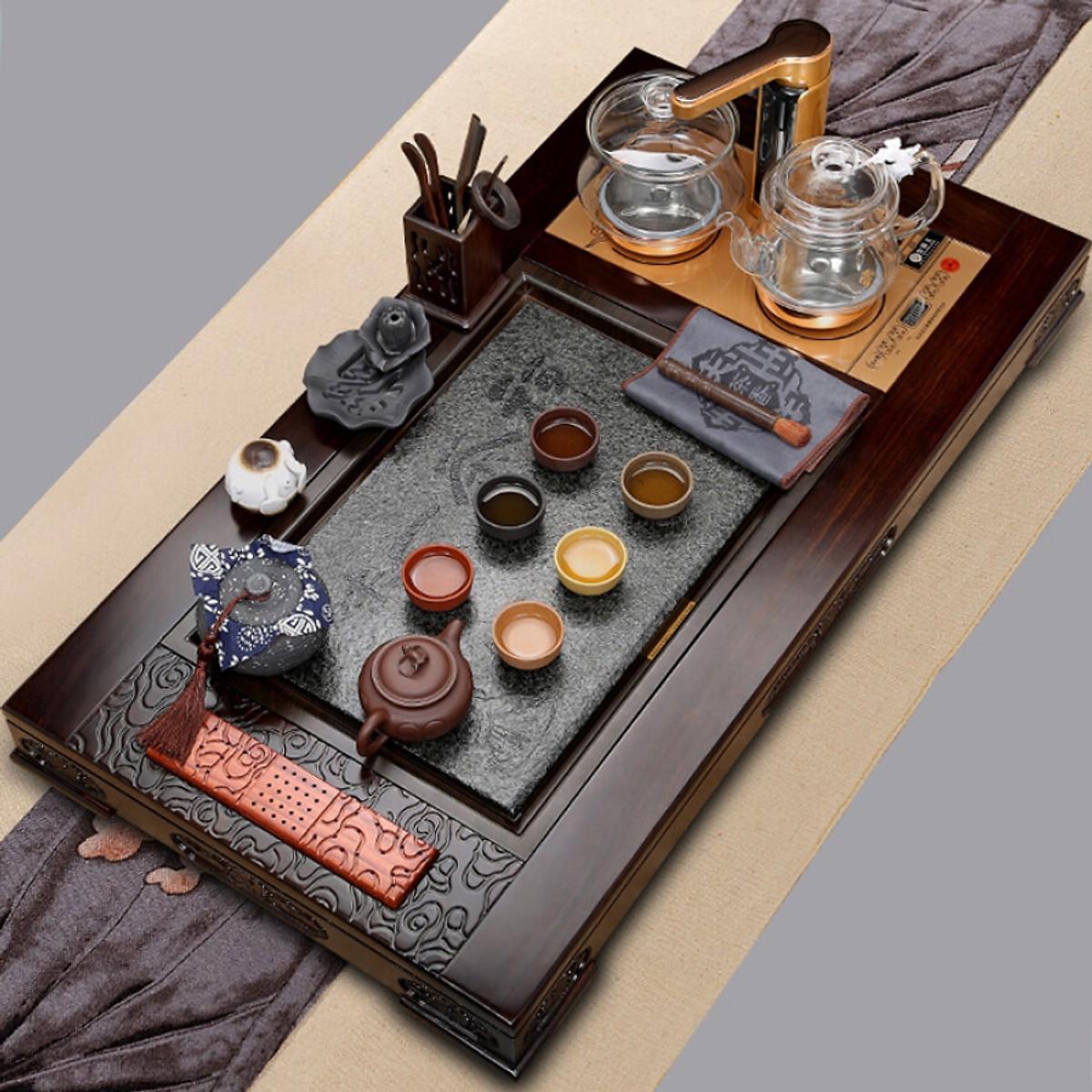 Bộ Uống Trà (Khay Gỗ Đàn Hương + Bộ Ấm Chén) Yunxiangfu