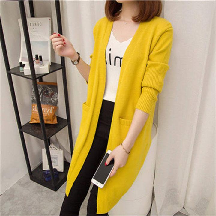 Áo len nữ cardigan dáng dài phong cách trẻ trung 3