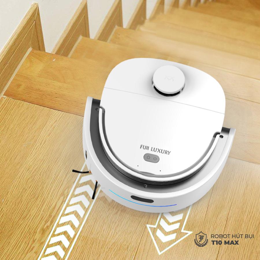 Robot hút bụi lau nhà T10 Max có hệ thống cảm biến thông minh chống rơi cầu thang