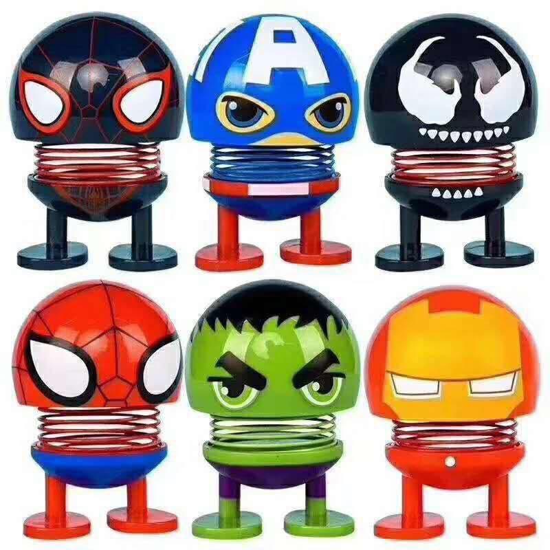 Set 6 thú nhún Emoji lò xo siêu anh hùng 1