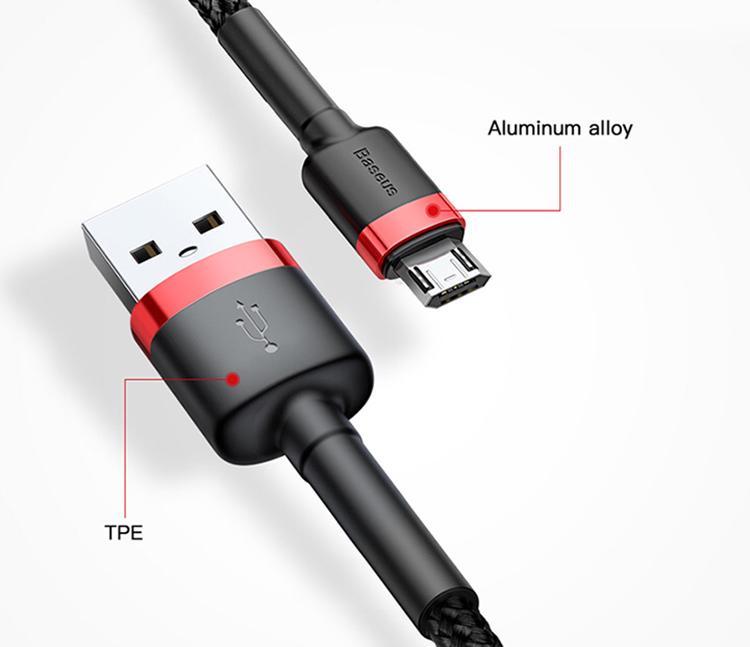 Cáp Sạc Nhanh Micro USB Cho Smartphone Android 2.4A Baseus Cafule