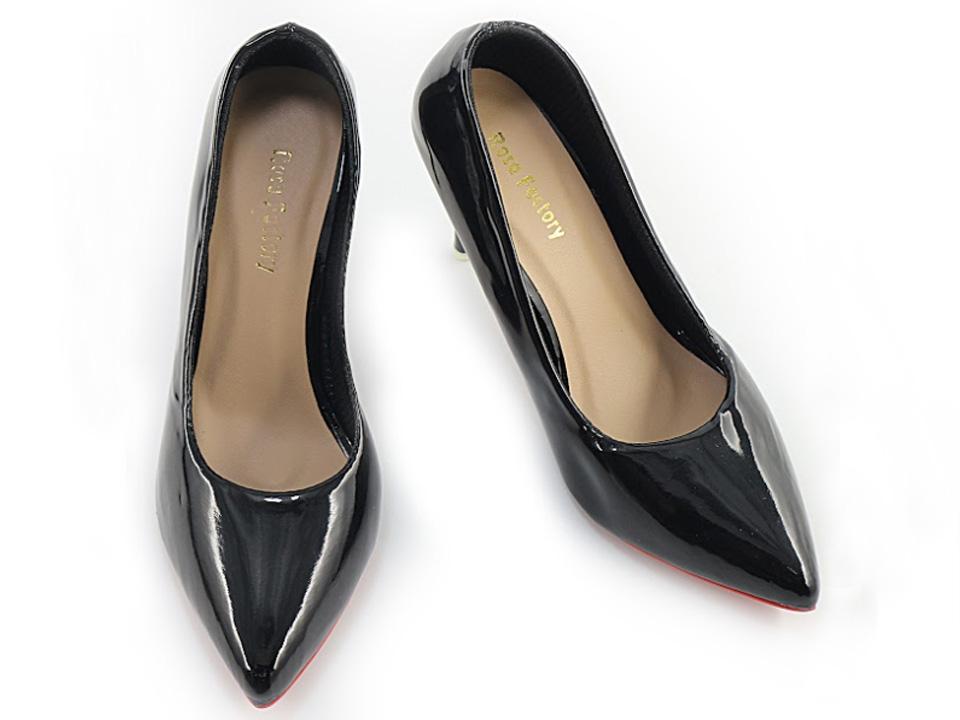 Giày Cao Gót Nữ Bít Mũi Da Trơn Gót Nhọn 7cm 2