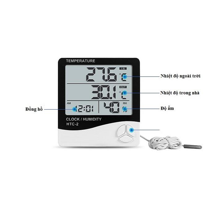 Đồng hồ để bàn màn hình Led dùng để đo nhiệt độ, độ ẩm HTC - 2 ( Tặng kèm 01 miếng thép đa năng để ví ) 2