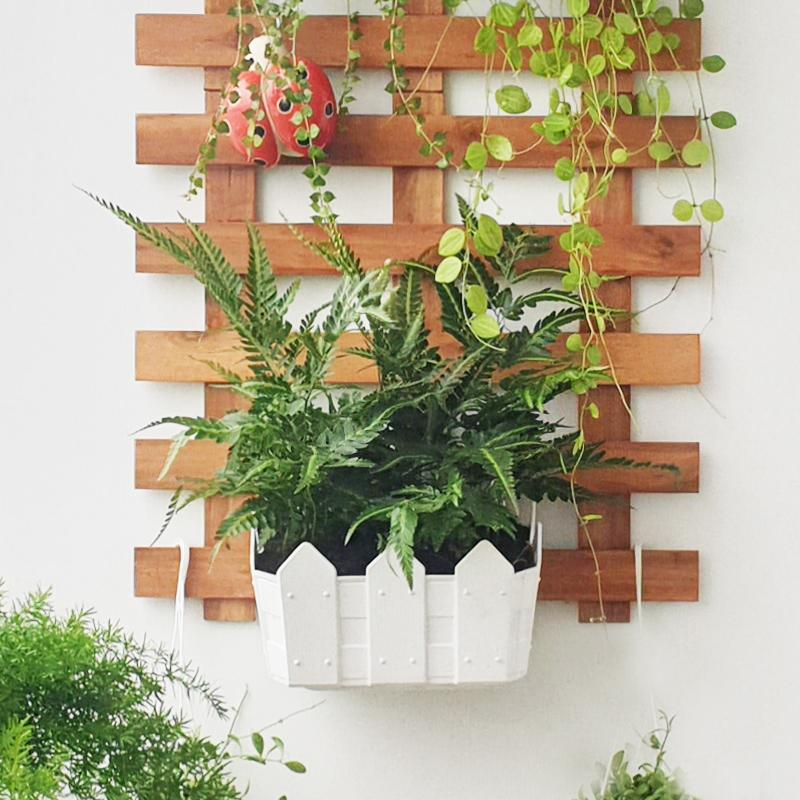 Chậu nhựa trồng cây treo tường kiểu hàng rào màu trắng