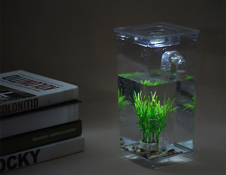 Self Cleaning Small Fish Tank Bowl Convenient Acrylic Desk Aquarium for Office Home Creative Gifts for Children - Transparent