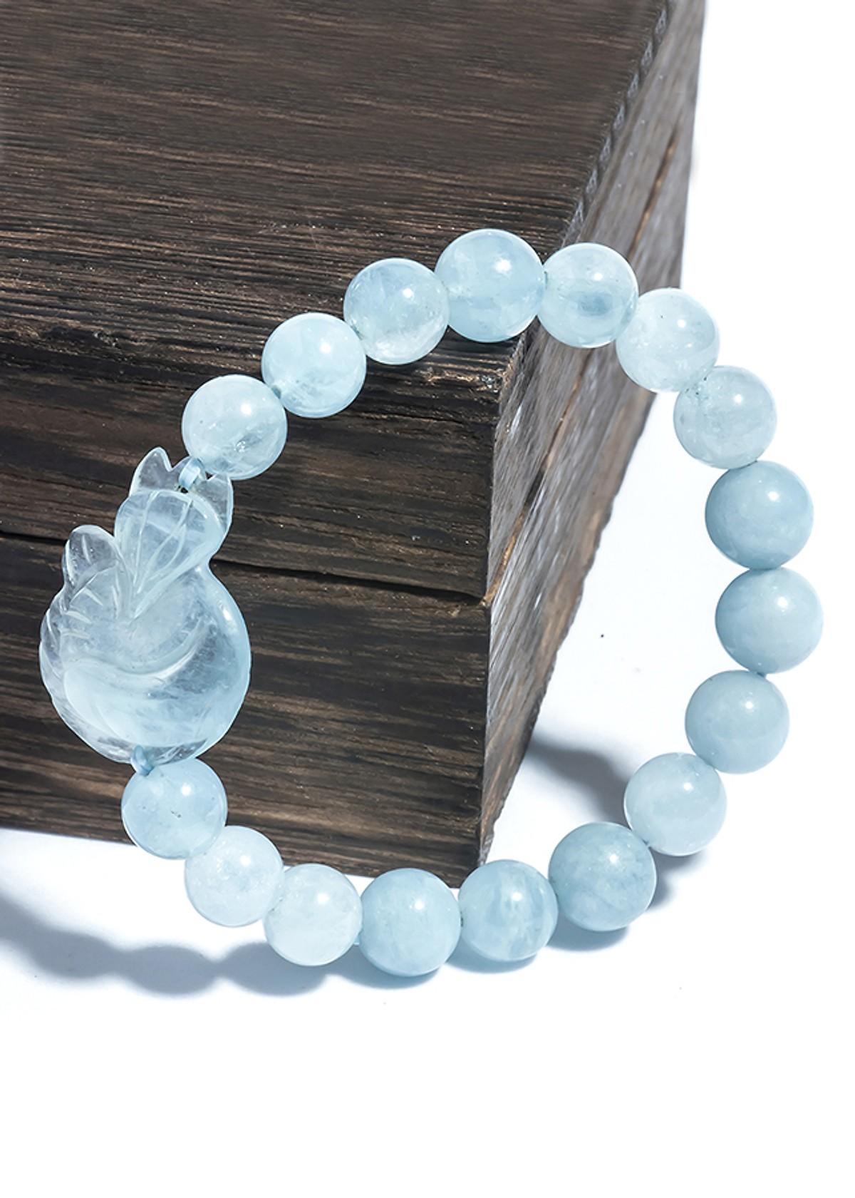 vòng đeo tay hồ ly đá aquamarine