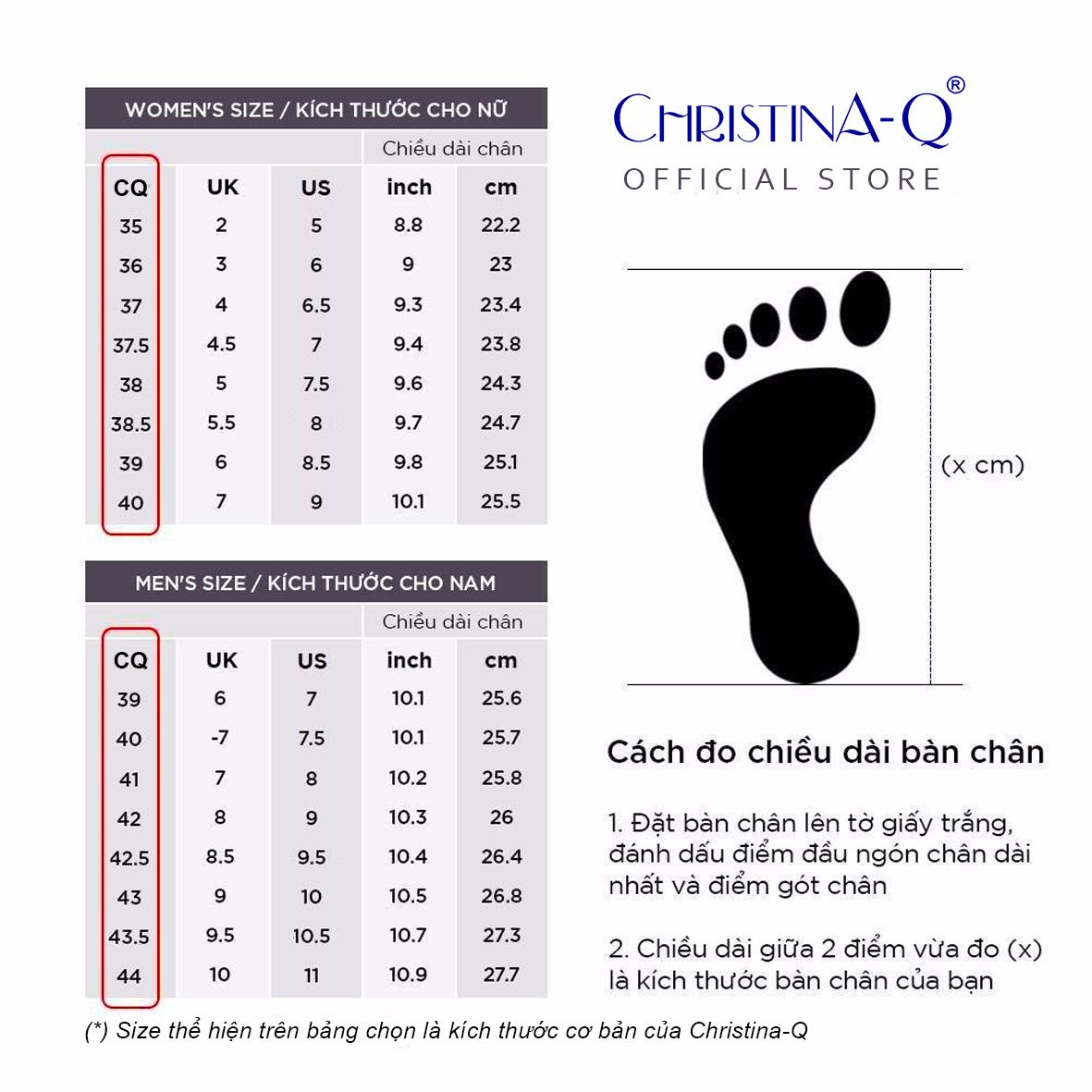 Hướng dẫn chọn size giày christina-q