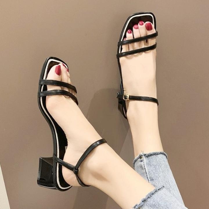 Giày xăng đan nữ quai kép trước gót vuông 5cm quai hậu móc da PU mềm C02 3