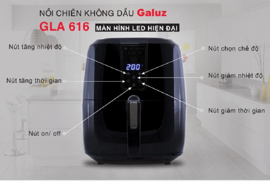 Nồi Chiên Không Dầu Điện Tử Cảm Ứng GALUZ GLA-616 (5,2 lít) - Hàng Chính Hãng Pháp