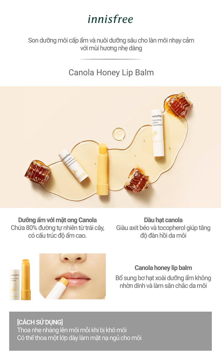 Son Dưỡng Môi Không Màu Innisfree Canola Honey Lip Balm Deep Moisture 3.5G - 131170567